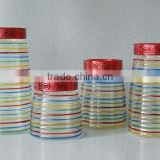 4pcs hand painted glass canister with plastic lid