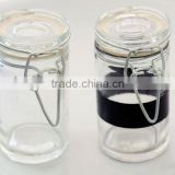 straight air-tight glass jar with clip