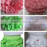 2015 Newest Design! lovely Various color Ruffled Satin Baby's Bloomer/ Diaper cover with lovely Pattern