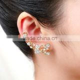 Women Crystal Rhinestone Butterfly Flower Ear Cuff Ear Clip Stud Earring