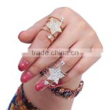 1pcs Gold-plated Rhinestone Star Wrap Spiral Finger Rings