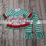 2016 yawoo green stripe long sleeve sequin tunic dress and ruffle pants clothing toddler girl christmas outfit