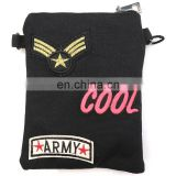 Small Canvas Badge Mobile Phone Carry Shoulder Bag Neck Hanging Bag