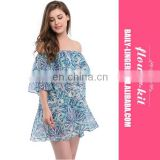 Women Summer Sexy Lovely Floral Print Strapless Off-the-shoulder Lace-up Loose A-line Halter Long Sleeve Beach Cover Up Dress