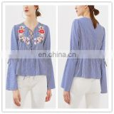 New design Blue Striped shirt fashion sexy lace-up Tops women Bell Sleeve embroidered blouse