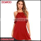 2017 Summer Fashion Woman Low Cut Falbala Mini Short Dresses Sexy Red Satin Halter Girl Dress