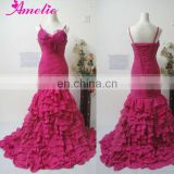 Real sample chiffon ruffles skirt prom dress