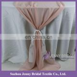 TR018#147 blush chiffon fabric satin table covers and runners wedding