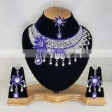 Much More Heart Beated Blue Stone Silver Plated Necklace Earrings Set