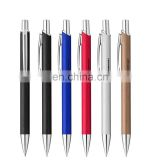 sophisticated brushed aluminum metal ballpoint pen with shiny chrome accents
