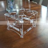 customized DIY assembled clear desktop 4 holes acrylic ice cream cone display stand holder/rack