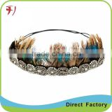 Fashion chain hair accessories fancy peacock feather crown headbands for women hair jewelry