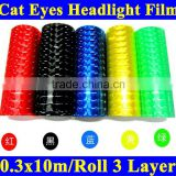 New arrival 0.3*10m high transmittance transparent cat eye headlights car body sticker film