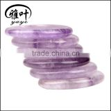 Wholesale 45*35*7mm Semi-precious stone Amethyst Worry Stone Thumb massage stone oval Shape