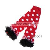 Baby Red Polka Dots Black Ruffles Leg Warmers