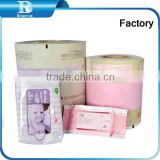 Plastic Wrapping Film baby wipes bags,toilet wipes, wet wipes Printed Wrapping Film