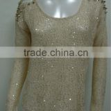 2015 new fashion high quality sequin fashion lace blouse designs , crochet blouse wholesale China