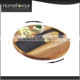 Response in 24 hours Promotional Modern Dishes Plates 3 Pcs Acacia Slate Lazy Susan Set                                                                         Quality Choice
