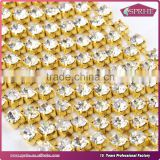 Gold Metal Crystal Cup Chain Rhinestone Chains for Bridal Dress