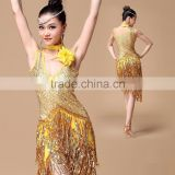 2016 New Girls Ballroom Dance Competition Dress Samba Costume Women Sexy Salsa Dresses with Necklace Ladies Latin Dress Dance