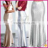 Hot selling fashion solid color silver sequin skirt sequin maxi skirt for women