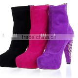 Rabbit hair women's leather crystal chunky heel attractive boots