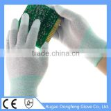 Top 13G ESD White PU Fingertip Coated Electrical Anti Static Carbon Fiber Hand Gloves
