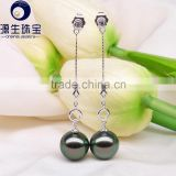 18k gold tahitian pearl high luster perfect round black pearl earring designs