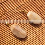 Brass wire earring with sunstone for women-sunstone facet nugget beads-brass earring hook