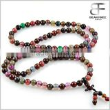 Yoga Meditation Natural Mixed Color Dragon Pattern Agate 108 Prayer Beads Mala Wrap Bracelet or Necklace