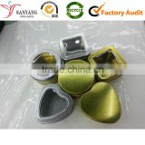 Plain simple gold custom metal tin box window heart shape gift box                                                                                                         Supplier's Choice
