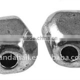 Tibetan Style Beads, Lead Free, Flat Round, Antique Silver, 10x11x9mm, hole: 2mm(TIBEB-A11220-AS-LF)