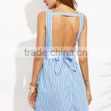 SheIn Girls Short Blue Striped Bow Backless V Neck Sleeveless Dress