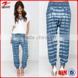2016 New Products Blue Tie Dye Women Harem Pants Clothing Supplier China