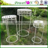 Vintage Classical White Antique Wrought Iron S/3 Round Plant Stand For Home Decoration Patio TS05 G00 X00 PL08-4909
