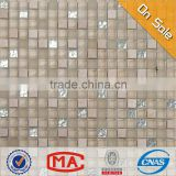 LYY Beige tile bathroom mosaic design wall tiles silver leaf glass mix marble mosaic tiles