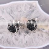 High Quality Sterling Silver 925 Black Druzy Stone Ring, Pave Crystal Jewery Carving Obsidian Buddha Ring