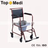 Rehabilitation Therapy Supplies powder coating steel frame commode wheelchair with toilet