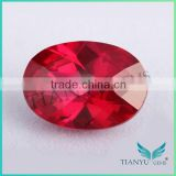 Loose gemstone free sample products 5# oval checker board shape corundum ruby gemstone price