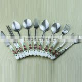 red rose ceramic handle stainless steel cutlery set fork spoon chopsticks cute Western knife G55