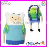 B596 Cute Adventure Time Plush Backpack Soft Cartoon Cosplay Adventure Time Backpack