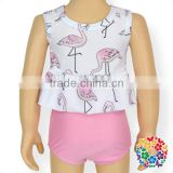 Cute Flamingo Ruffle Sleeveless Swimwear White And Pink Two Piece Baby Girls Swimming Suits