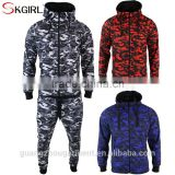 Cheap 100% cotton camo hooded zip up hoodie and jogging pants men tracksuit set with no logo