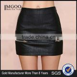 MGOO High Quality Black Twill Mini Plain Skirt For Women Wholesale Silver Zip Fashion Sexy Skirt 15144A108