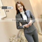 Formal Gray Blazer Women Business Suits Formal Office Suits Work Wear Sets Ladies Uniforms OL Style Pant suits