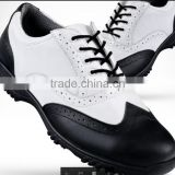 black white anti slip leather golf shoes/yibng cow hide water proof breathable golf shoes/amazing sneakers