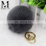 2016 Beautiful and Softly Multicolor Fur Ball Keychain Genuine Rabbit Fur Pom Pom Key Chain