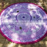 Indian 2017 72 Inch Round Tapestry Maroon Gold Ombre Mandala Design Beach Towel Wall Hanging White