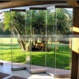 Stainless steel Side hanging frameless glass folding door, glass folding door hardware, folding door system