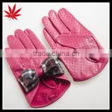 Girl's pink driving gloves sun protection with black butterfly
